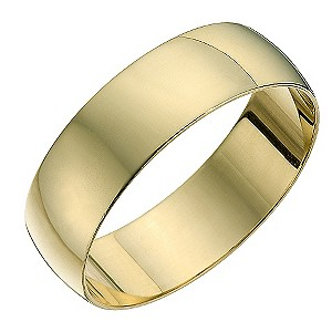 9ct yellow gold D shape 6mm heavy wedding ring