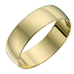 9ct yellow gold D shape 6mm heavy wedding ring - Product number 8681503