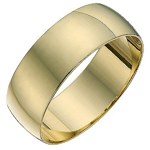 Men's 9ct yellow gold D shape 7mm heavy wedding ring