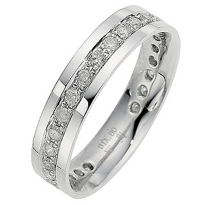 9ct White Gold Half Carat Diamond Pave Set Eternity Ring