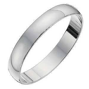 9ct white gold D shape 3mm heavy wedding ring