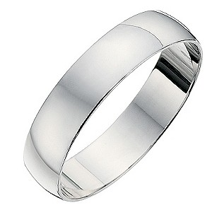9ct white gold D shape 4mm heavy wedding ring