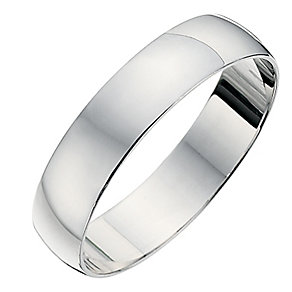 9ct white gold D shape 4mm heavy wedding ring - Product number 8683115