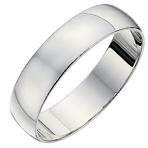 9ct white gold D shape 5mm heavy wedding ring