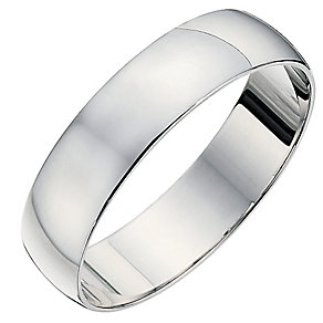 9ct white gold D shape 6mm heavy wedding ring - Product number 8683670