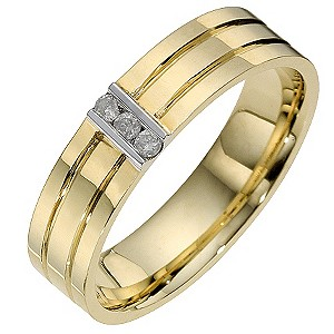 9ct Two Colour Gold Diamond Ring
