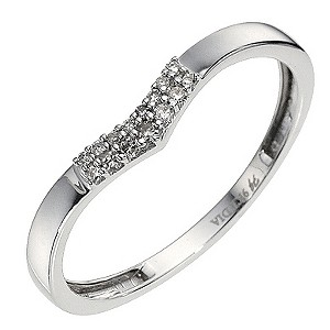 9ct White Gold Shaped Diamond Ring