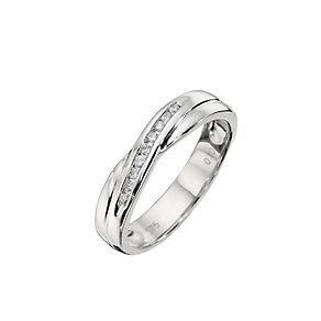 9ct White Gold Diamond Set Cross Over Ring - Product number 8685355