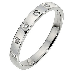 Platinum Diamond Flat Band Ring