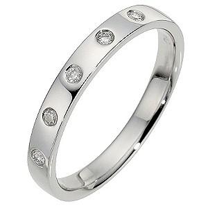 Platinum Diamond Flat Band Ring