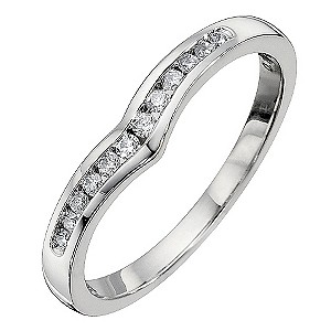 18ct White Gold Diamond Set Shaped Ring