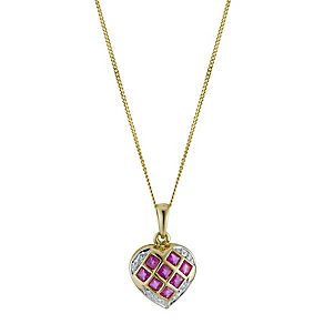 9ct yellow gold ruby heart pendant - Product number 8687447