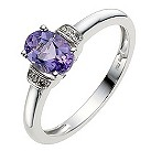 9ct white gold amethyst & diamond ring - Product number 8688168