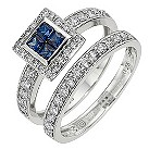18ct white gold sapphire and diamond bridal set - Product number 8688680