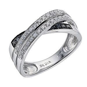 9ct white gold black & white diamond crossover ring - Product number 8690022