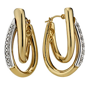 9ct yellow gold diamond set hoop earrings - Product number 8690626