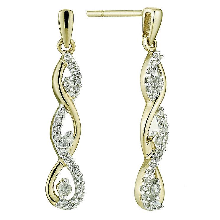 9ct yellow gold quarter carat diamond twist drop earrings - Product number 8690871