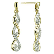 9ct yellow gold quarter carat diamond twist drop earrings - Product number 8690871