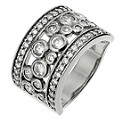 Silver & Platinum Plated Cubic Zirconia Wide Ring - Size P - Product number 8691282