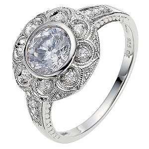 Silver & Platinum Plated Cubic Zirconia Ring -Size N - Product number 8691290