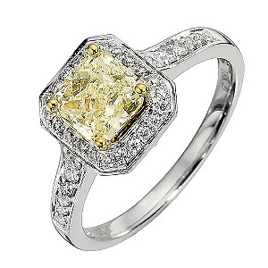18ct white gold 1.28ct yellow and white diamond ring - Product number 8692173