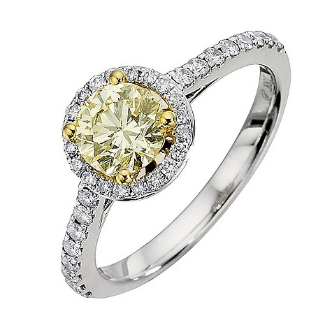 18ct white gold 1 carat yellow diamond ring