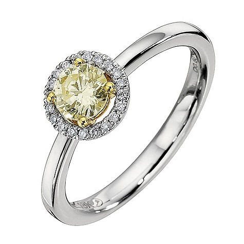 18ct white gold 0.56 carat yellow diamond solitaire ring