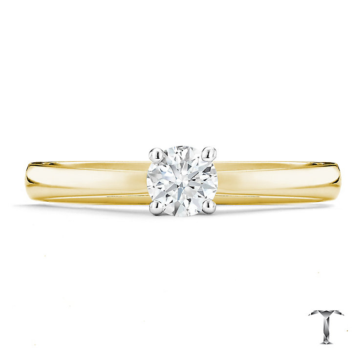 Tolkowsky 18ct yellow gold 0.33ct HI-SI2 diamond ring - Product number 8698562