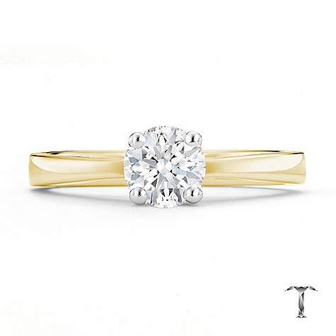 Tolkowsky 18ct yellow gold HI SI2 2/3 carat diamond ring