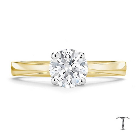 Tolkowsky 18ct yellow gold HI SI2 1 carat diamond ring