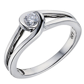 18ct white gold diamond solitaire ring - Product number 8700796