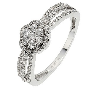 9ct White Gold Diamond Flower Cluster Ring