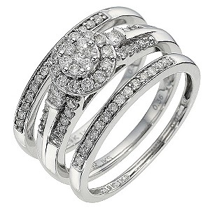 9ct White Gold 1/2 Carat Diamond 3 Band Wedding Set