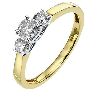 18ct Yellow Gold 2/3 Carat Diamond 3 Stone Ring - Product number 8703396