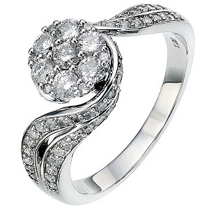 18ct White Gold 1 Carat Diamond Cluster Ring