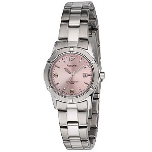 Accurist Ladies' Stainless Steel Pink Dial Bracelet Watch - Product number 8704880