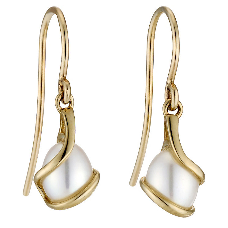 9ct yellow gold cultured freshwater pearl hook earrings - Product number 8705968
