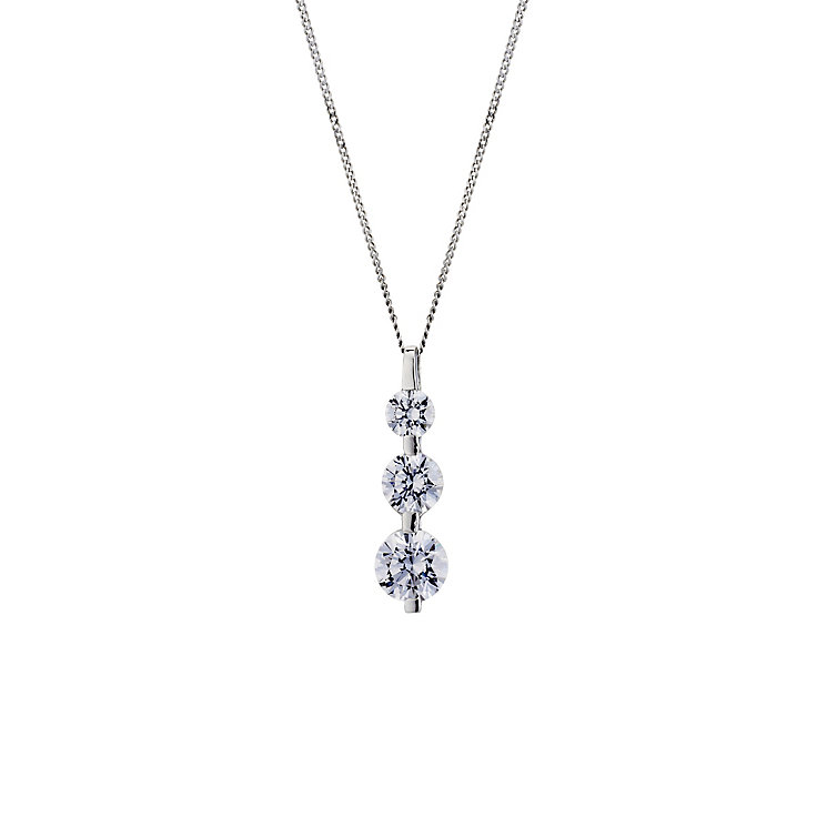 9ct white gold made with Swarovski Zirconia trilogy pendant - Product number 8706026