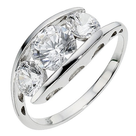 9ct white gold trilogy ring made with Swarovski Zirconia