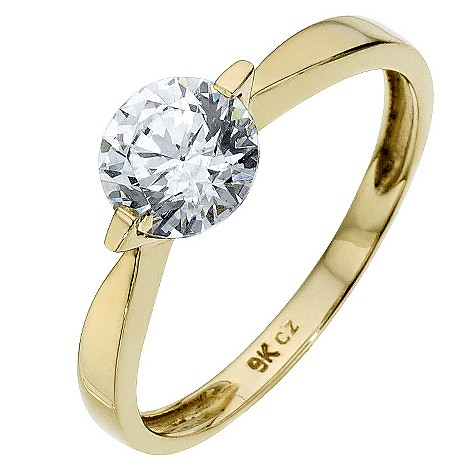 9ct yellow gold solitaire ring made with Swarovski Zirconia