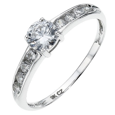9ct white gold cubic zirconia channel set ring