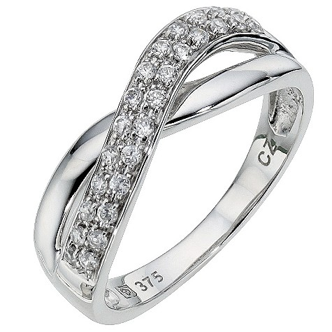 9ct white gold cubic zirconia pave set kiss ring