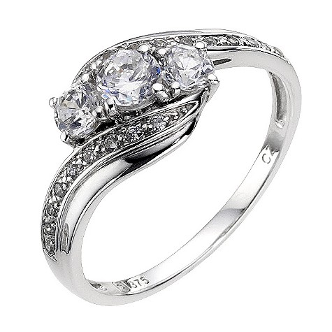 9ct white gold cubic zirconia trilogy ring
