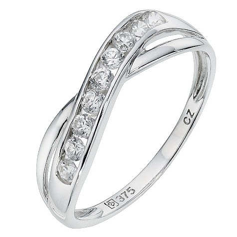9ct white gold cubic zirconia cross over eternity ring
