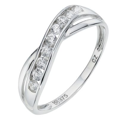 9ct white gold cubic zirconia cross eternity ring