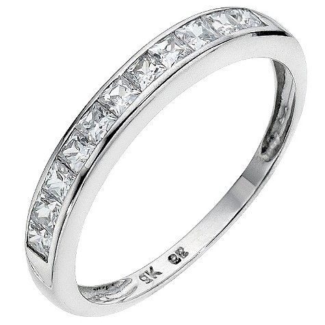 9ct white gold cubic zirconia channel set eternity ring
