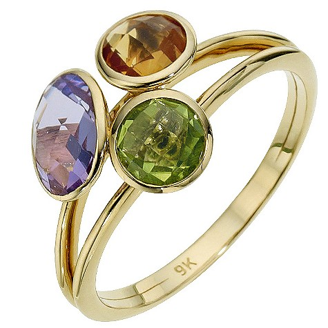 9ct yellow gold 3 colour stone ring