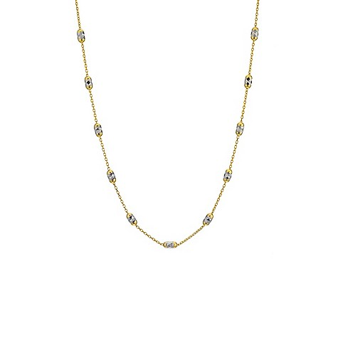 9ct two tone diamond cut station necklace