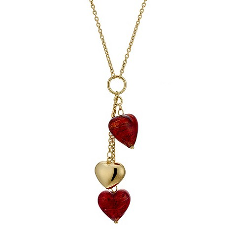 9ct yellow gold red Venetian heart necklace