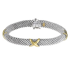 "9ct yellow gold and silver 3 kiss bracelet 7.5"" - Product number 8708452"